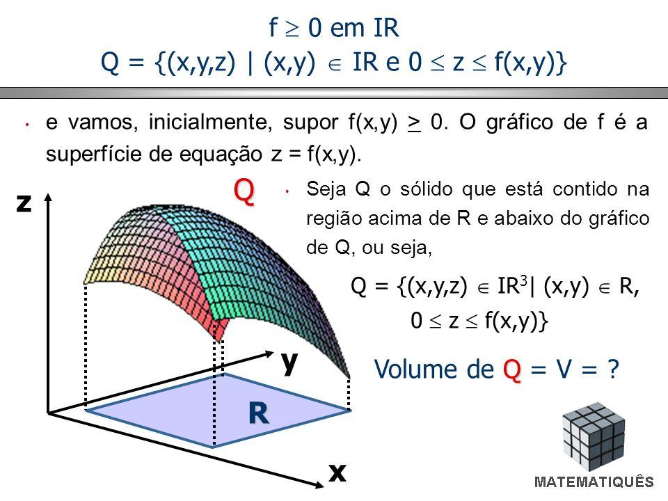 Q = {(x,y,z) | (x,y)  IR e 0  z  f(x,y)}