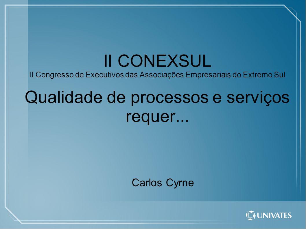 II CONEXSUL II Congresso de Executivos das Associações Empresariais do Extremo Sul Qualidade de processos e serviços requer...