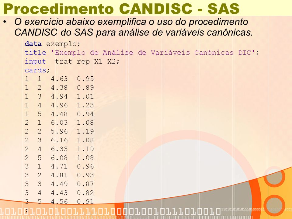 Procedimento CANDISC - SAS