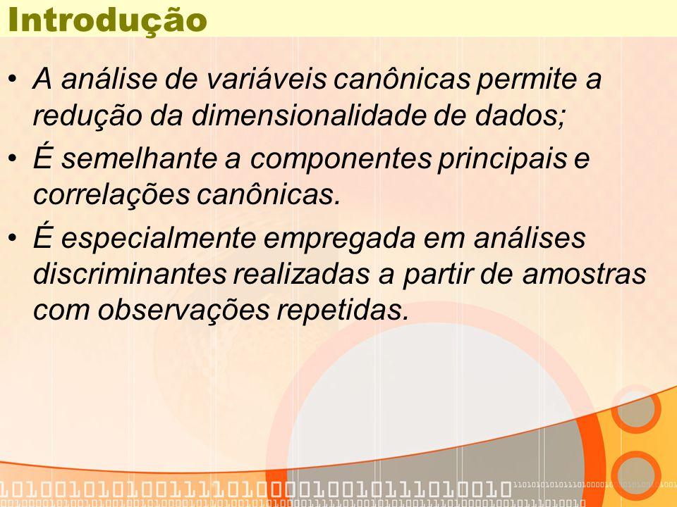 Introdução A análise de variáveis canônicas permite a redução da dimensionalidade de dados;