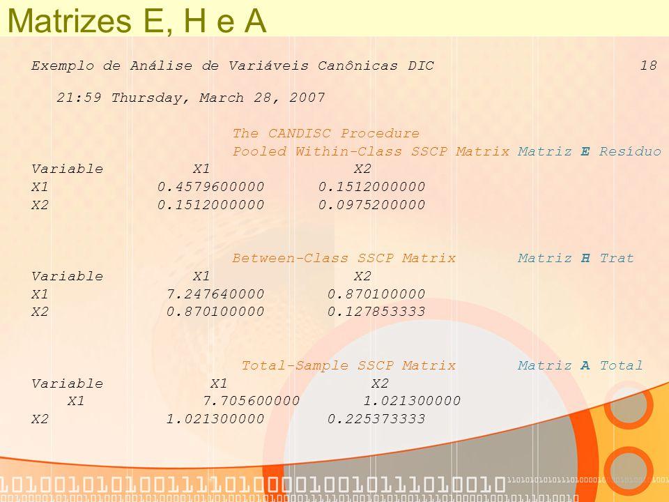 Matrizes E, H e A Exemplo de Análise de Variáveis Canônicas DIC 18