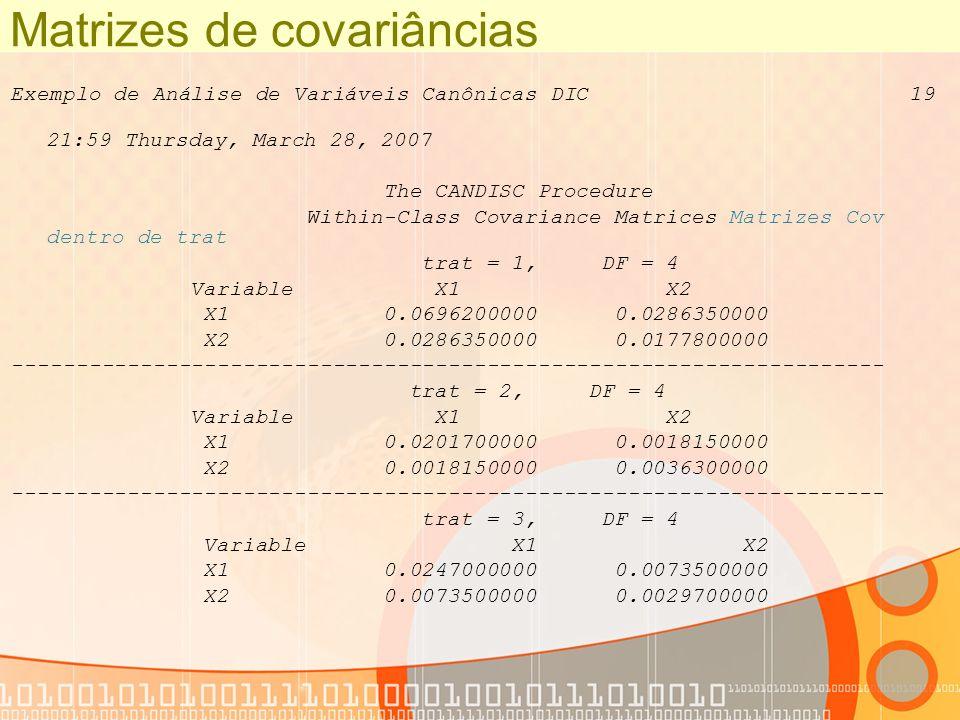 Matrizes de covariâncias