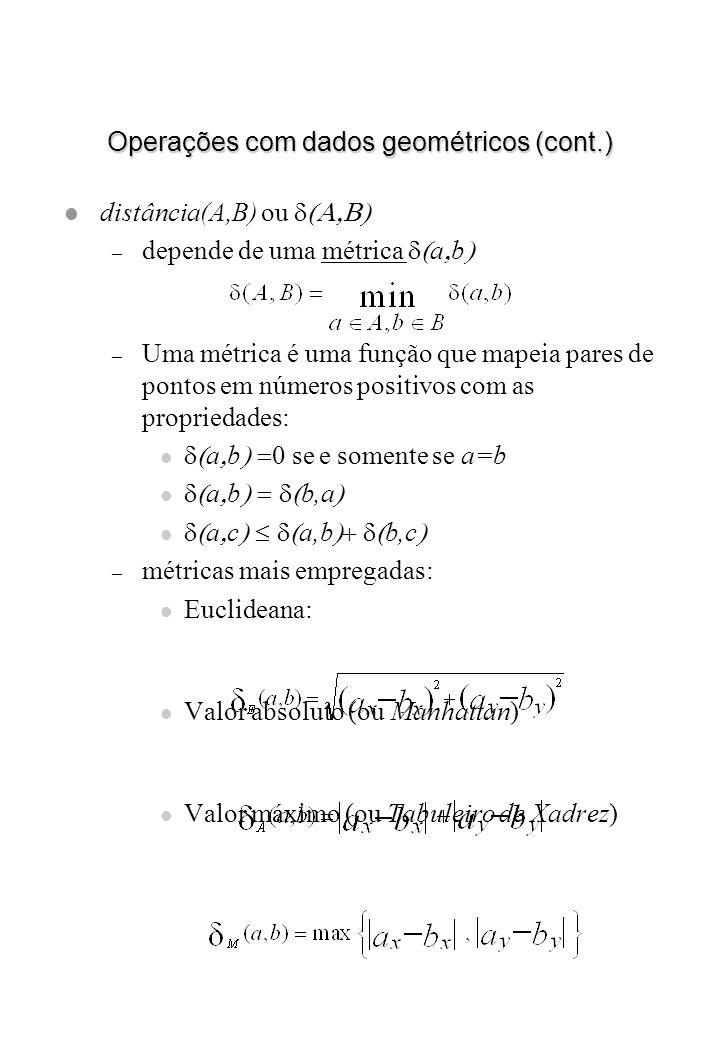 Operações com dados geométricos (cont.)