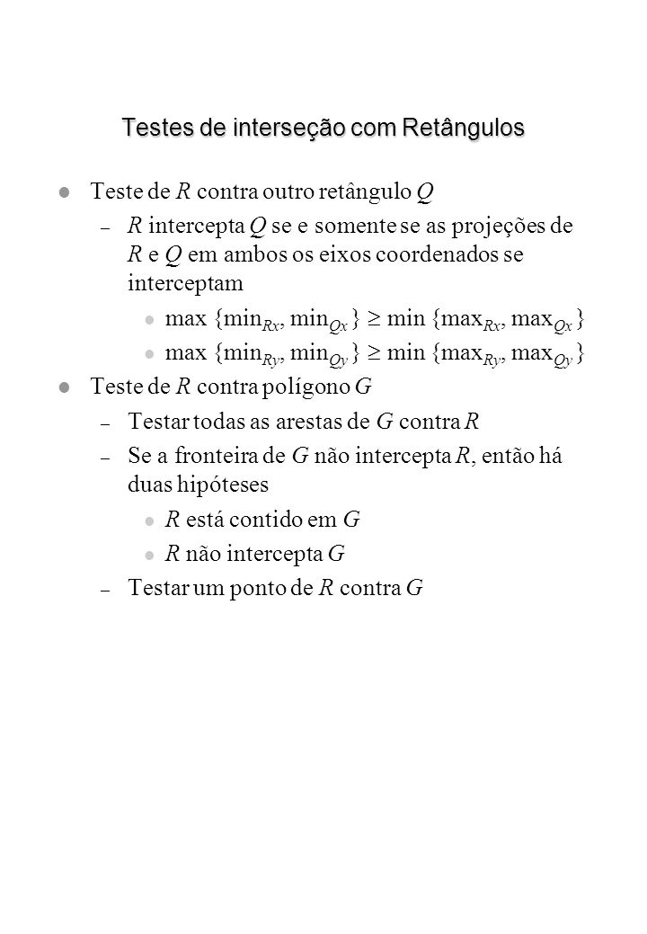 Testes de interseção com Retângulos