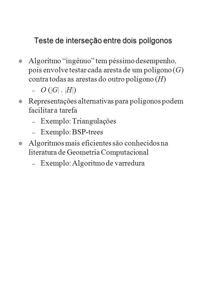 Teste de interseção entre dois polígonos