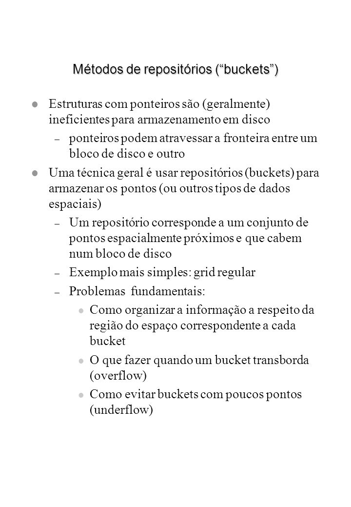 Métodos de repositórios ( buckets )