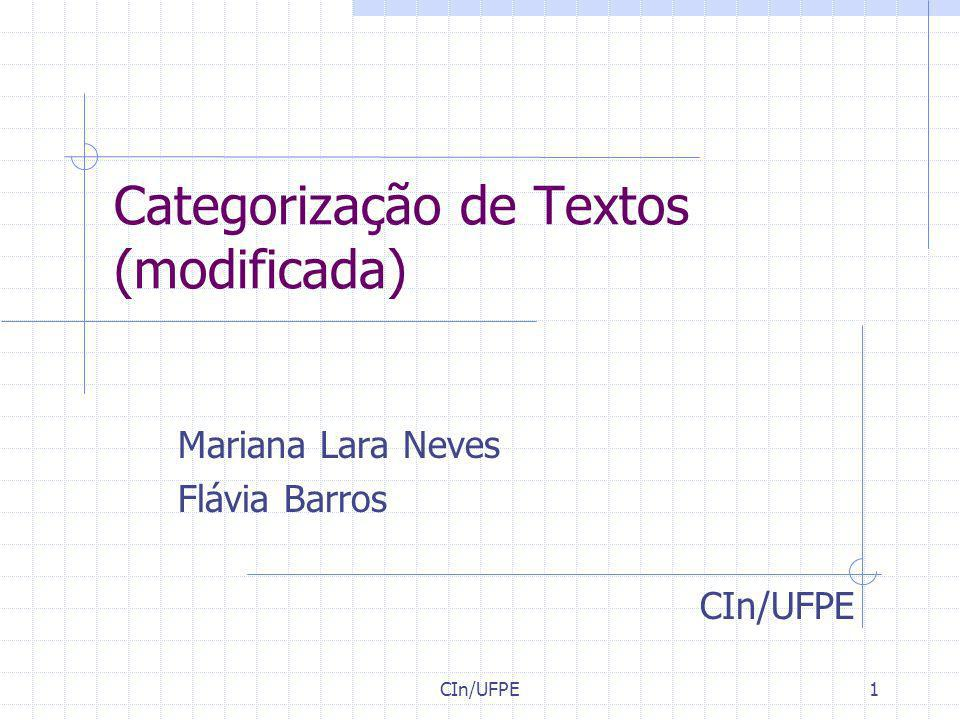 Categorização de Textos (modificada)