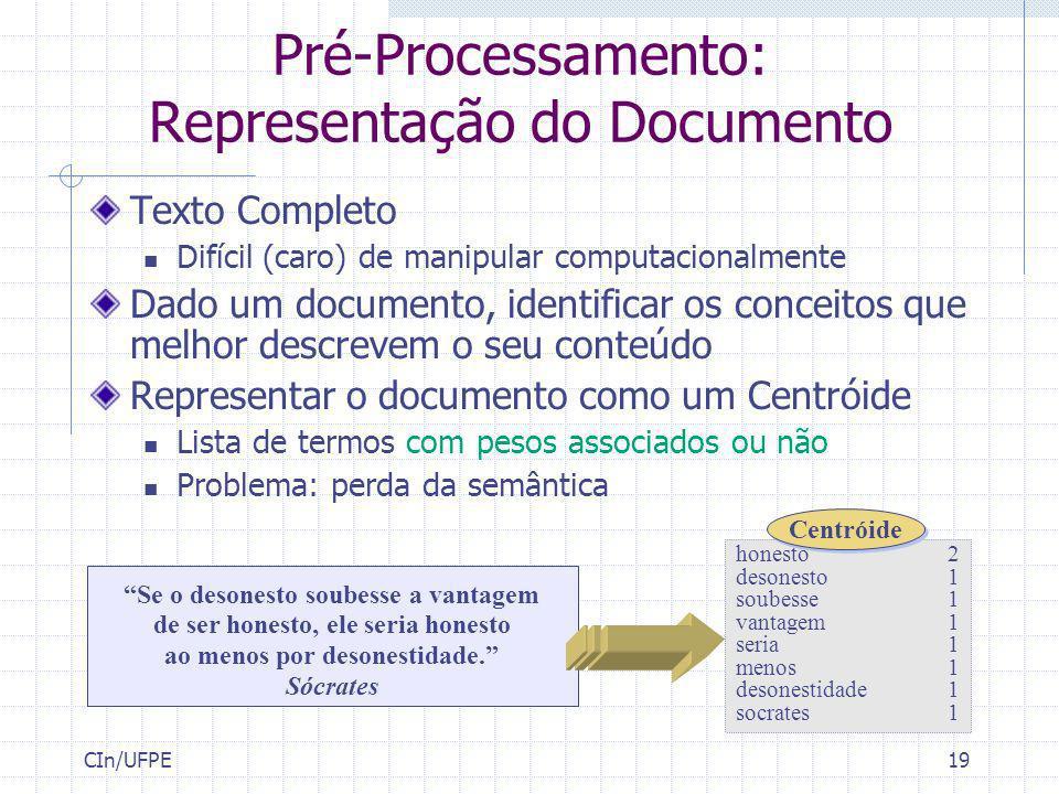 Pré-Processamento: Representação do Documento