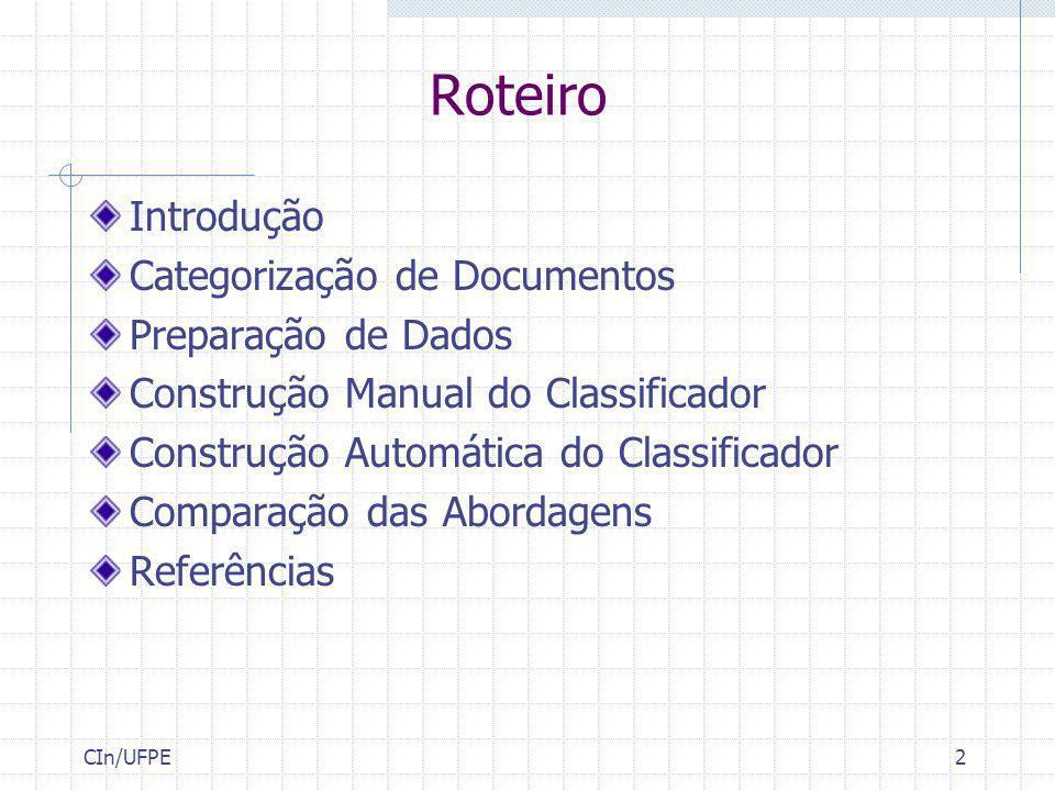 Roteiro Introdução Categorização de Documentos Preparação de Dados