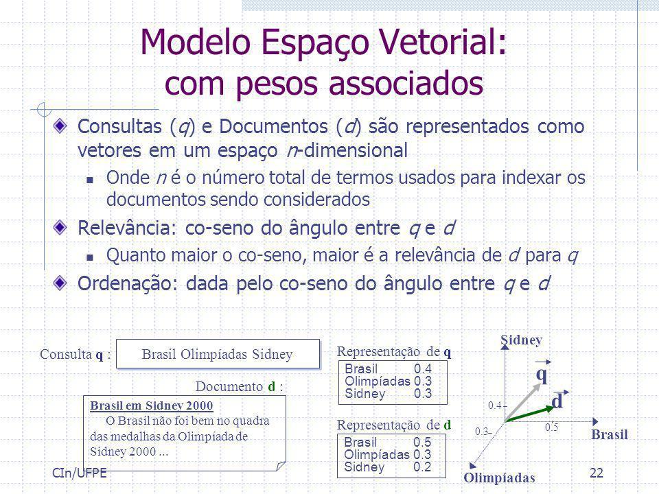Modelo Espaço Vetorial: com pesos associados