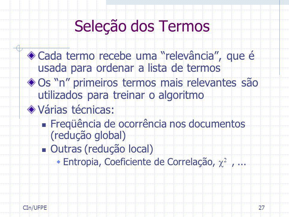 Seleção dos Termos Cada termo recebe uma relevância , que é usada para ordenar a lista de termos.
