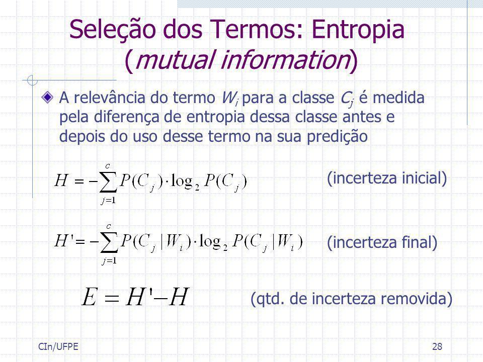 Seleção dos Termos: Entropia (mutual information)