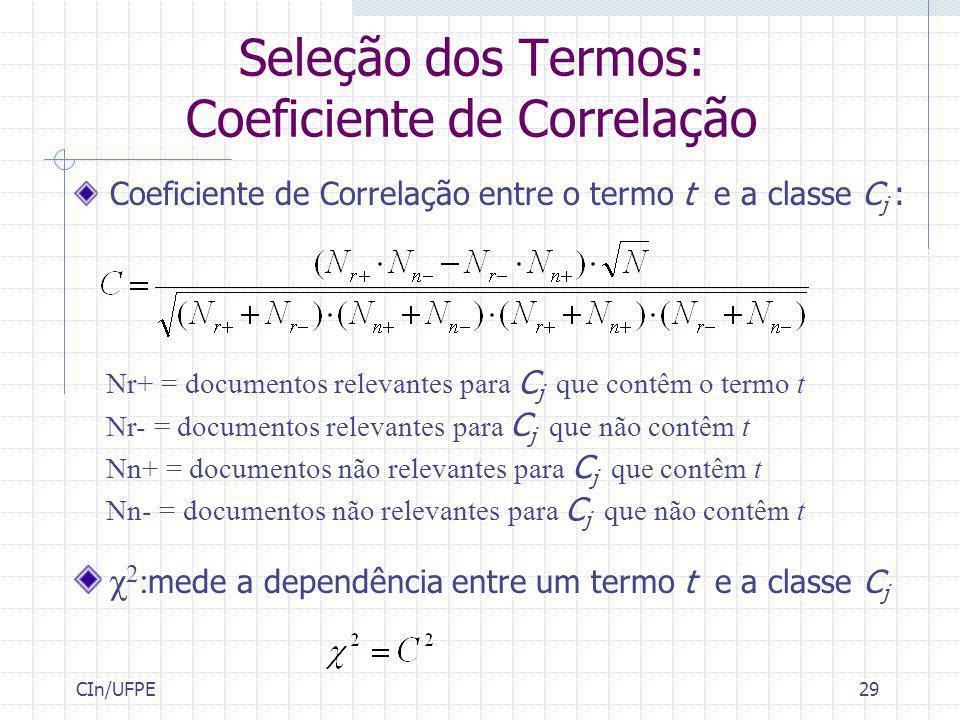 Seleção dos Termos: Coeficiente de Correlação