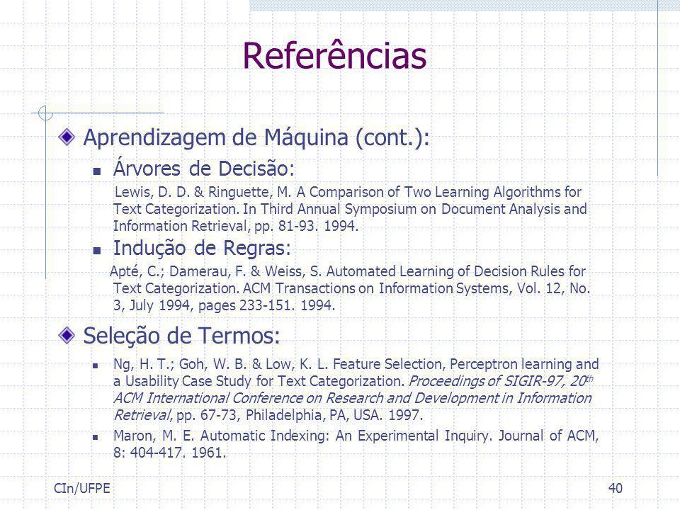 Referências Aprendizagem de Máquina (cont.): Seleção de Termos: