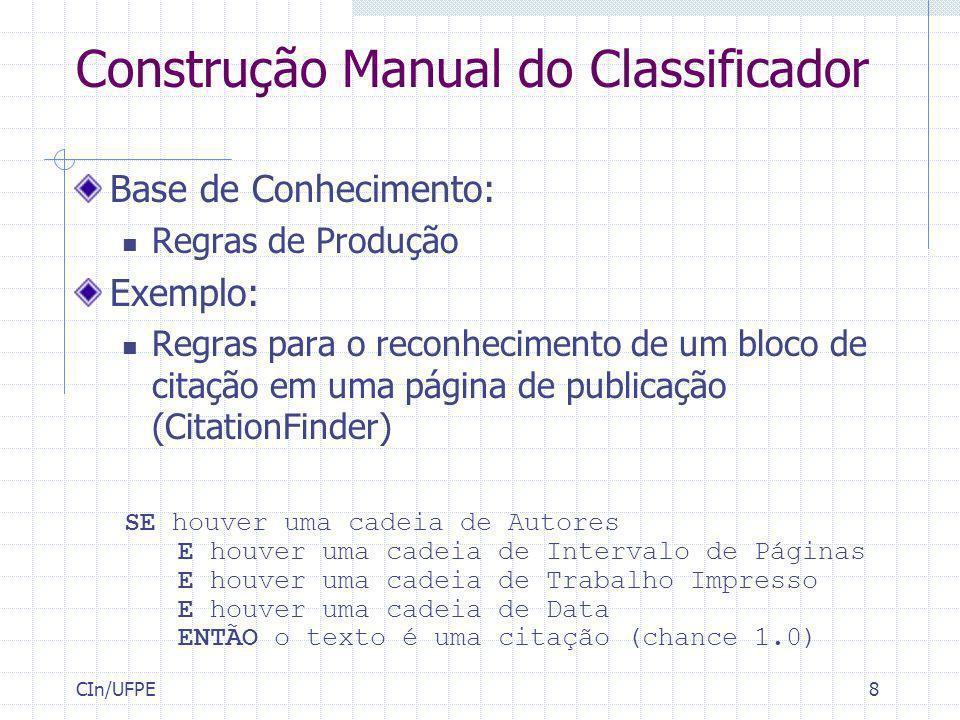 Construção Manual do Classificador