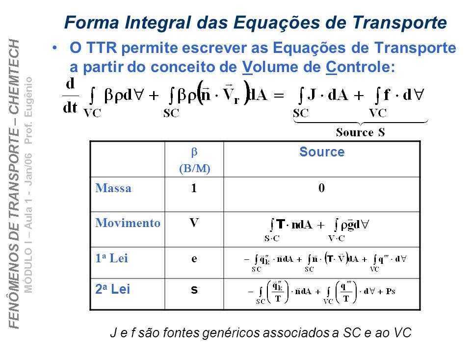 Forma Integral das Equações de Transporte