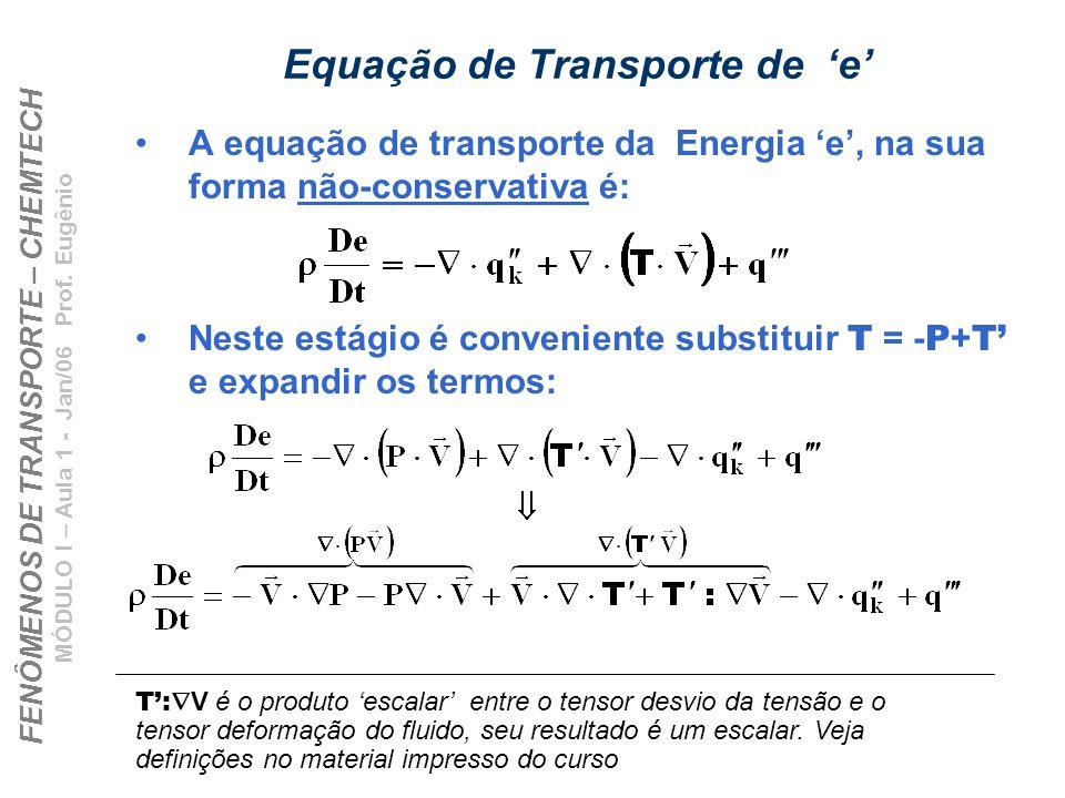 Equação de Transporte de 'e'