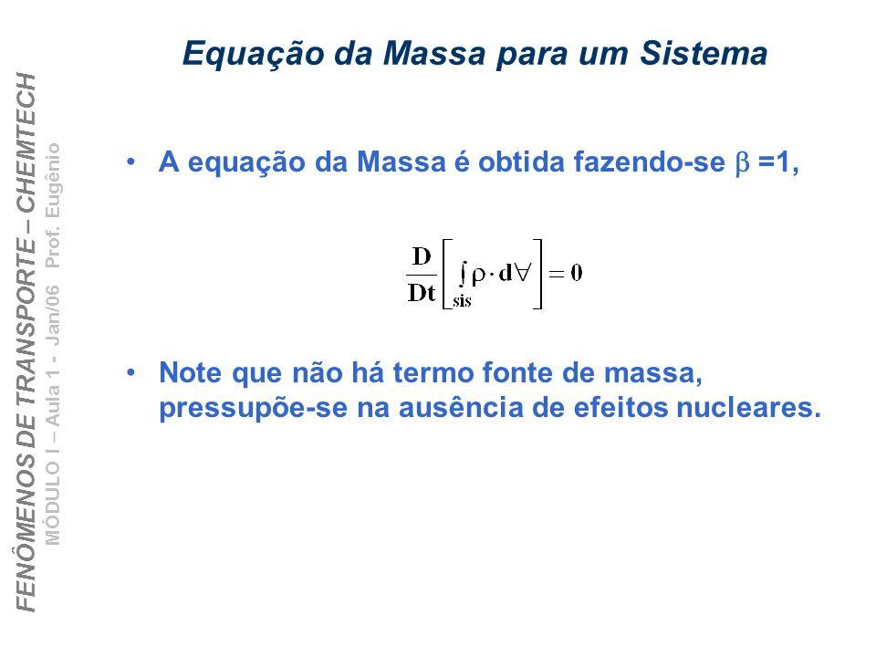 Equação da Massa para um Sistema