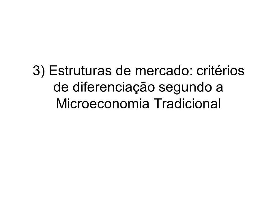 3) Estruturas de mercado: critérios de diferenciação segundo a Microeconomia Tradicional