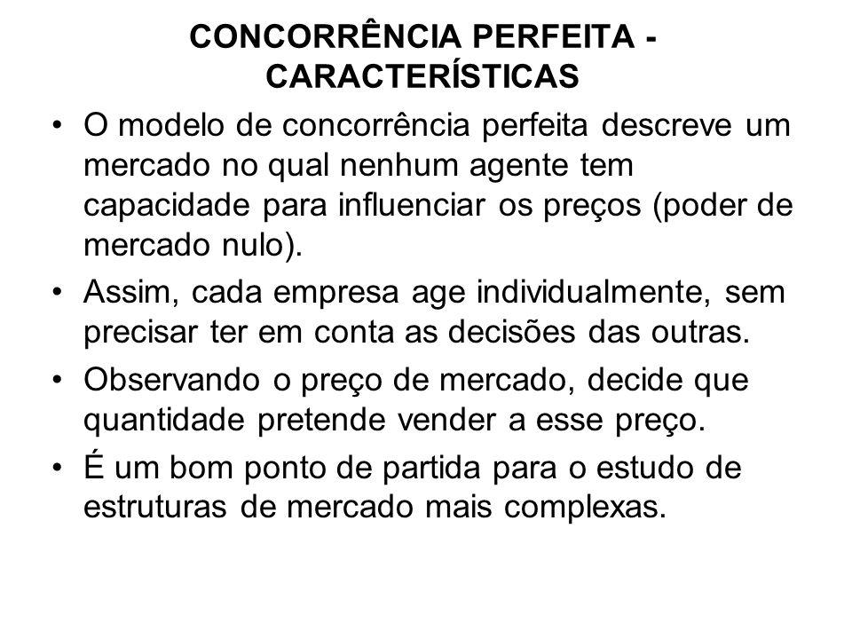 CONCORRÊNCIA PERFEITA - CARACTERÍSTICAS