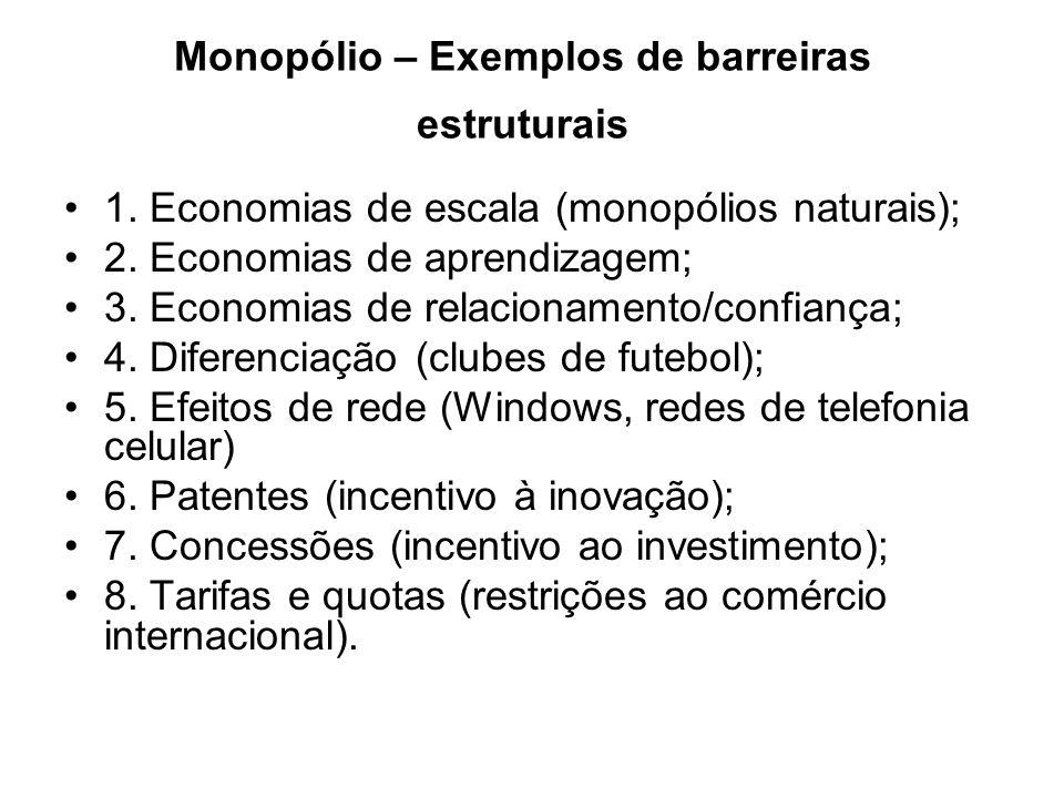 Monopólio – Exemplos de barreiras estruturais