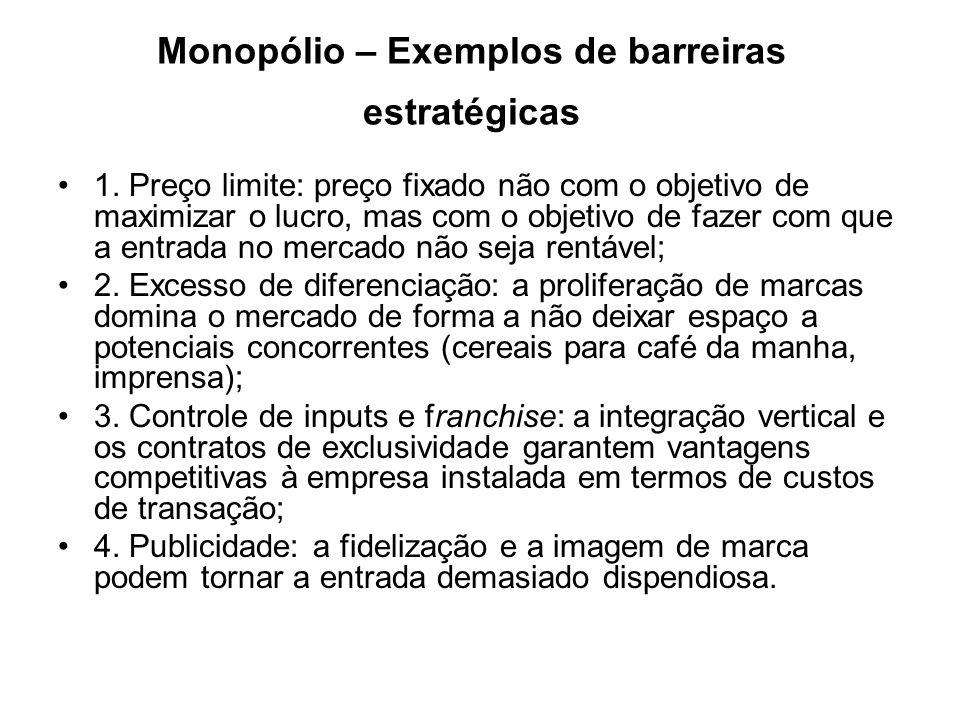 Monopólio – Exemplos de barreiras estratégicas