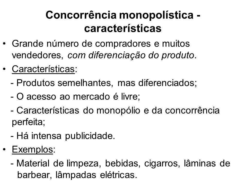 Concorrência monopolística - características