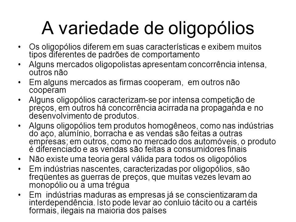 A variedade de oligopólios