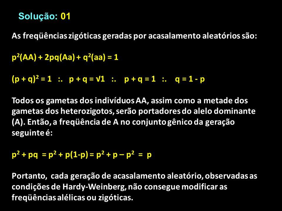 Solução: 01 As freqüências zigóticas geradas por acasalamento aleatórios são: p2(AA) + 2pq(Aa) + q2(aa) = 1.