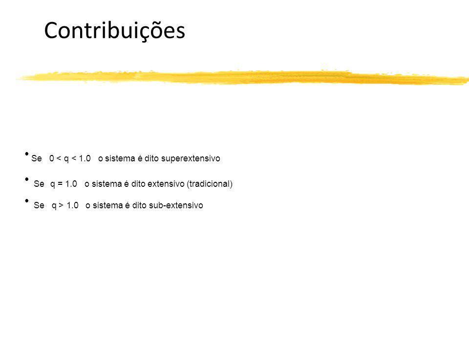 Contribuições Se 0 < q < 1.0 o sistema é dito superextensivo