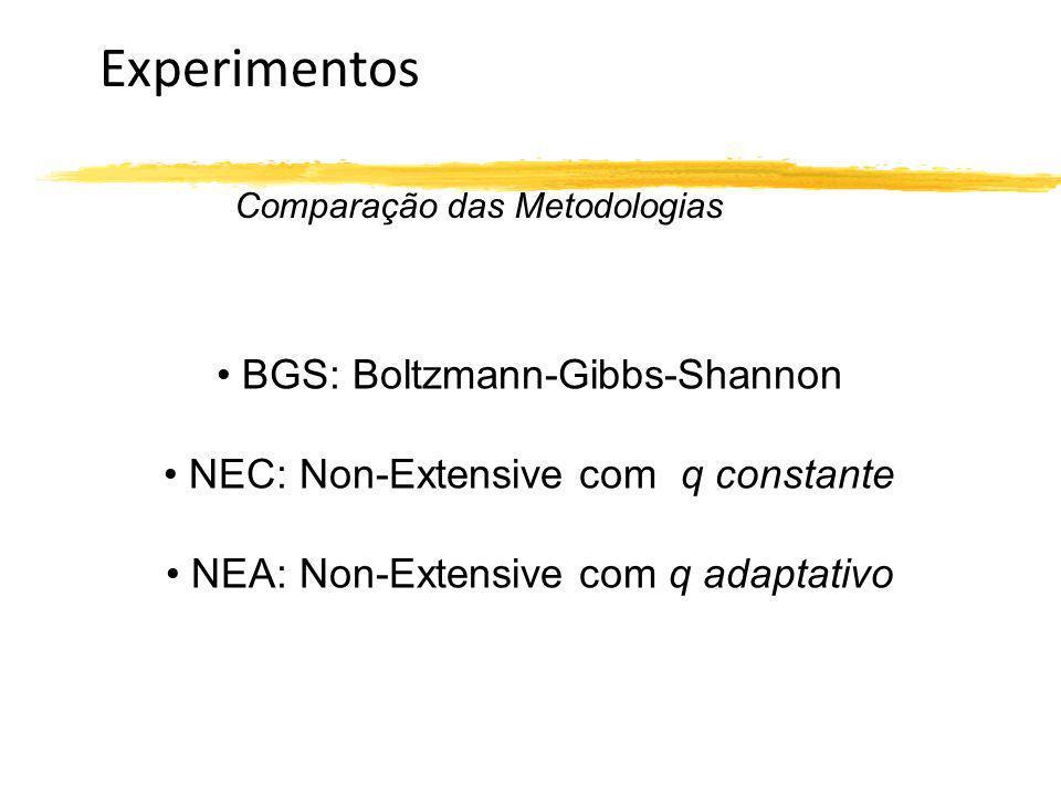Experimentos Comparação das Metodologias BGS: Boltzmann-Gibbs-Shannon