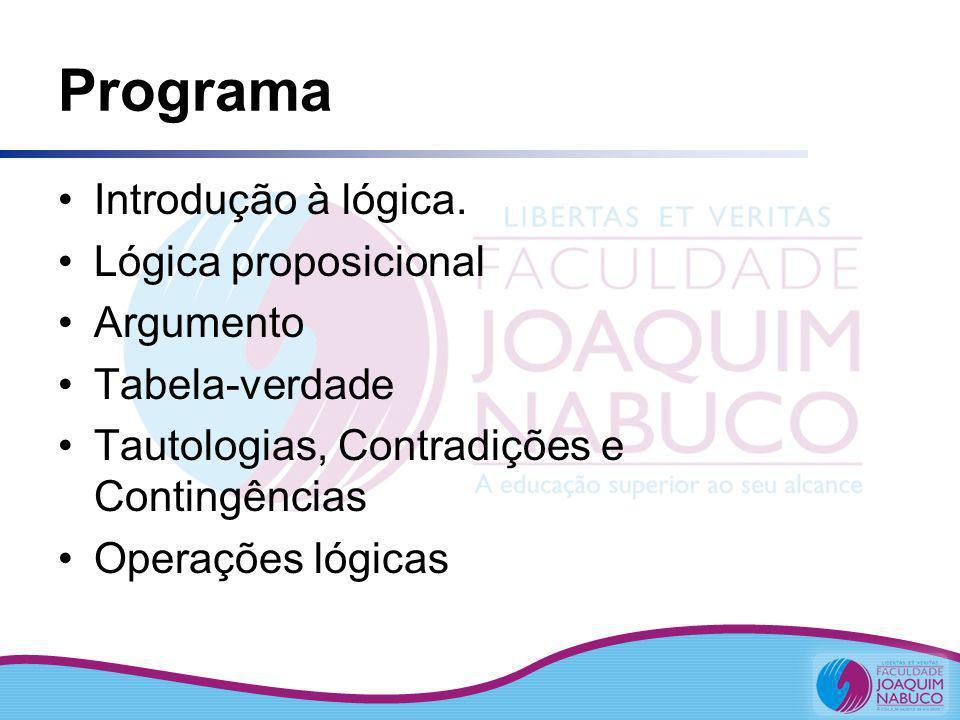 Programa Introdução à lógica. Lógica proposicional Argumento