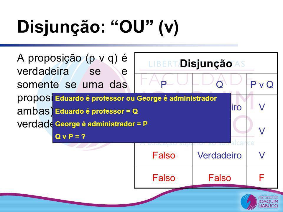 Disjunção: OU (v) Disjunção