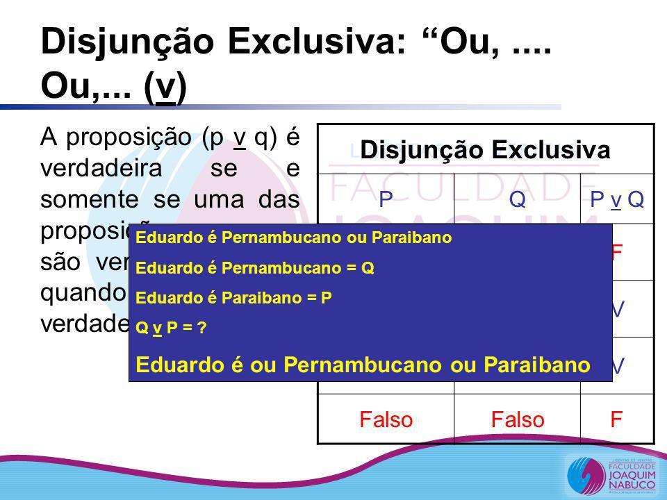 Disjunção Exclusiva: Ou, .... Ou,... (v)