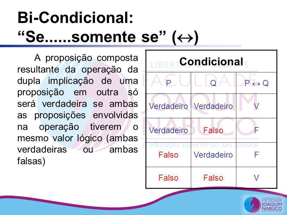 Bi-Condicional: Se......somente se ()