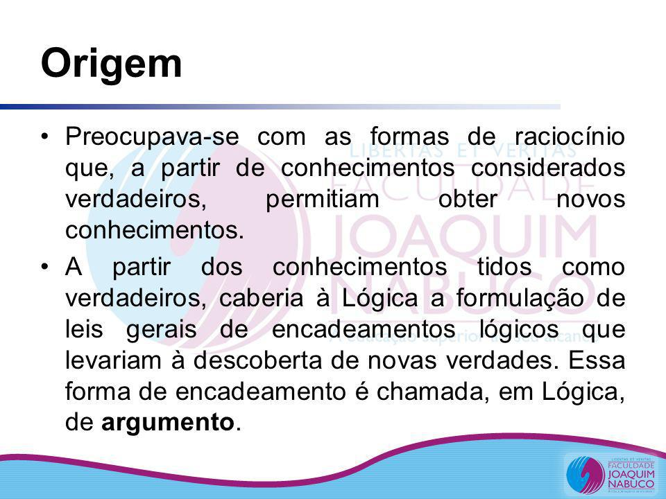 OrigemPreocupava-se com as formas de raciocínio que, a partir de conhecimentos considerados verdadeiros, permitiam obter novos conhecimentos.