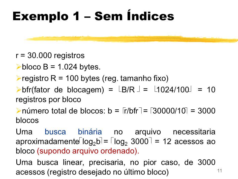 Exemplo 1 – Sem Índices r = 30.000 registros bloco B = 1.024 bytes.