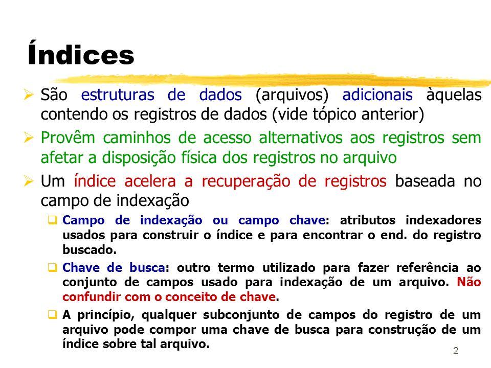 Índices São estruturas de dados (arquivos) adicionais àquelas contendo os registros de dados (vide tópico anterior)