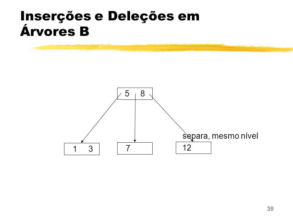 Inserções e Deleções em Árvores B