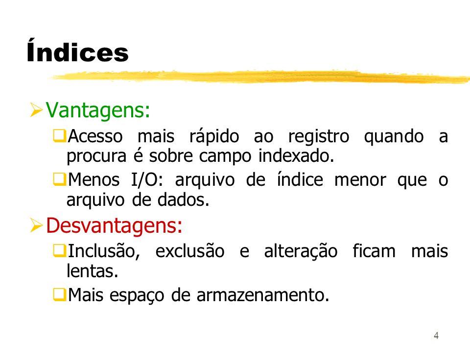 Índices Vantagens: Desvantagens: