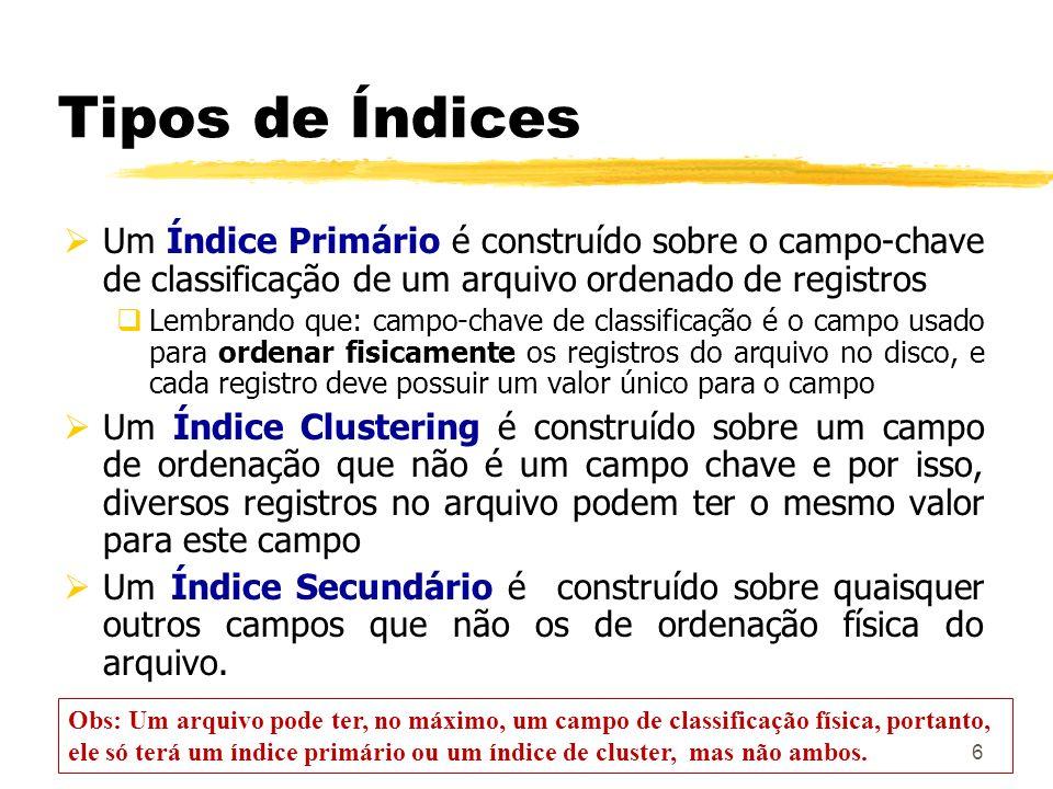 Tipos de Índices Um Índice Primário é construído sobre o campo-chave de classificação de um arquivo ordenado de registros.