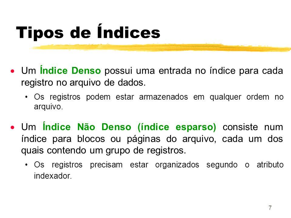 Tipos de Índices Um Índice Denso possui uma entrada no índice para cada registro no arquivo de dados.