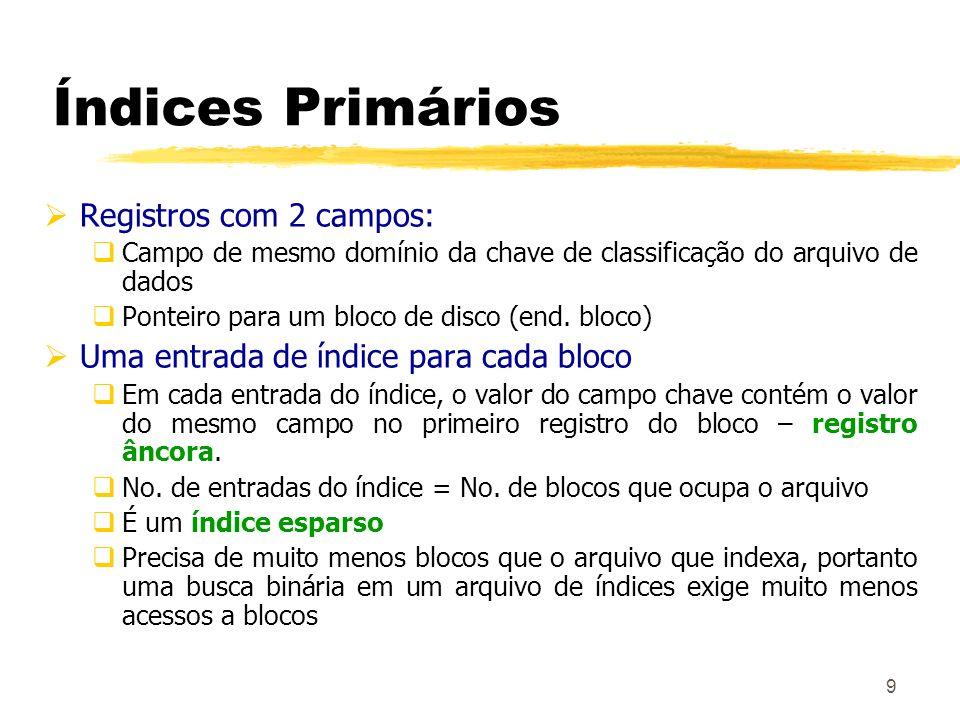Índices Primários Registros com 2 campos: