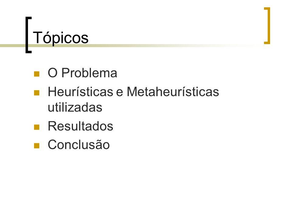 Tópicos O Problema Heurísticas e Metaheurísticas utilizadas Resultados