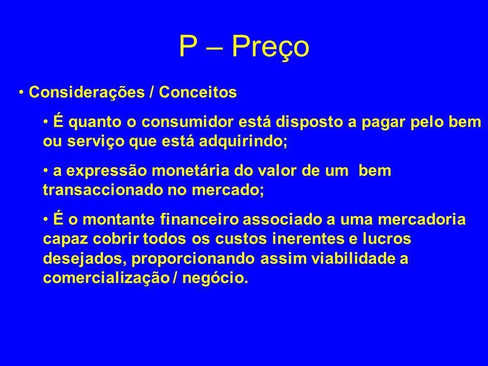 P – Preço Considerações / Conceitos