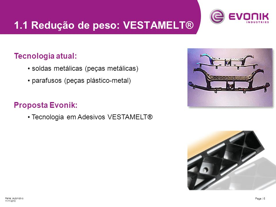 1.1 Redução de peso: VESTAMELT®