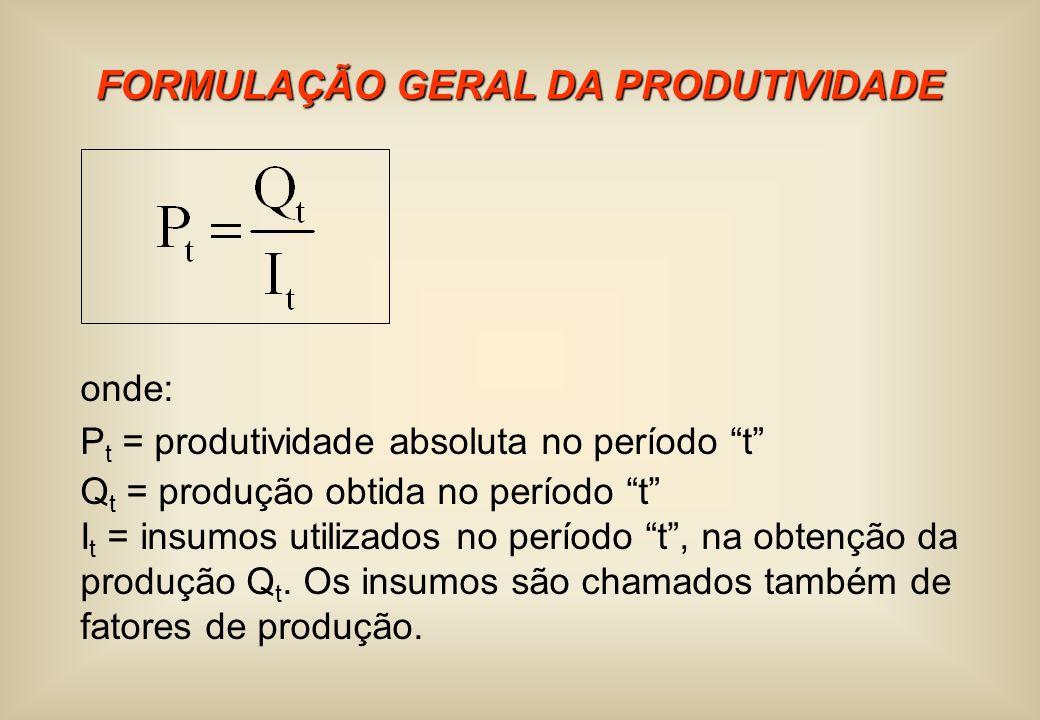 FORMULAÇÃO GERAL DA PRODUTIVIDADE
