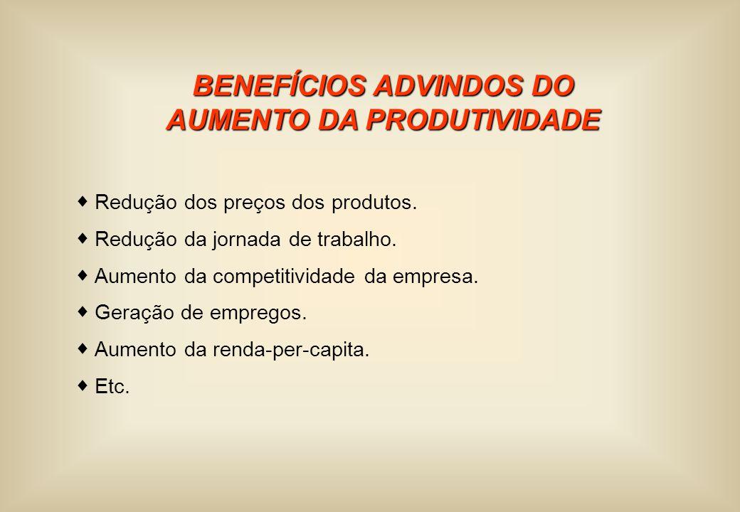 BENEFÍCIOS ADVINDOS DO AUMENTO DA PRODUTIVIDADE