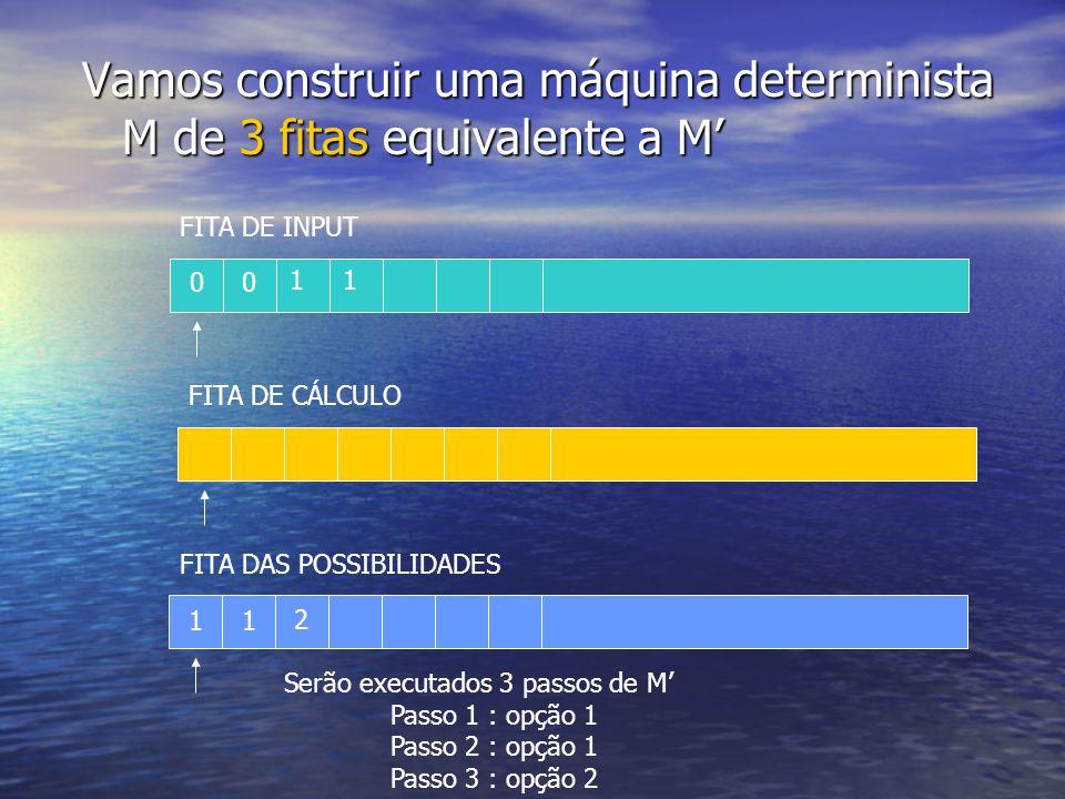 Vamos construir uma máquina determinista M de 3 fitas equivalente a M'