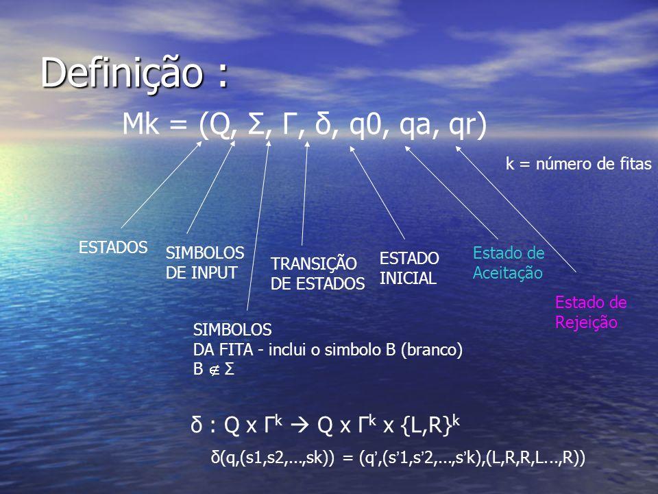 Definição : Mk = (Q, Σ, Γ, δ, q0, qa, qr) k = número de fitas